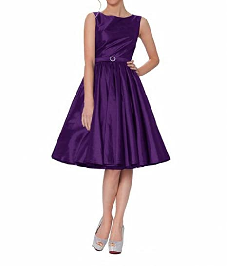 Leader of the Beauty Classy Audrey Hepburn Style Vintage Classic Prom Dress Purple UK 8