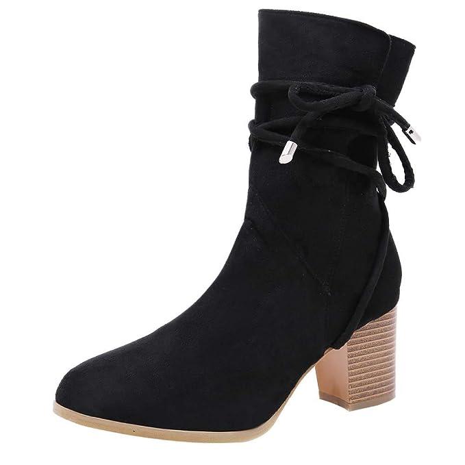 f6403dde02ae7 DENER❤ Women Ladies Winter Mid Calf Boots with Block Heels, Lace ...