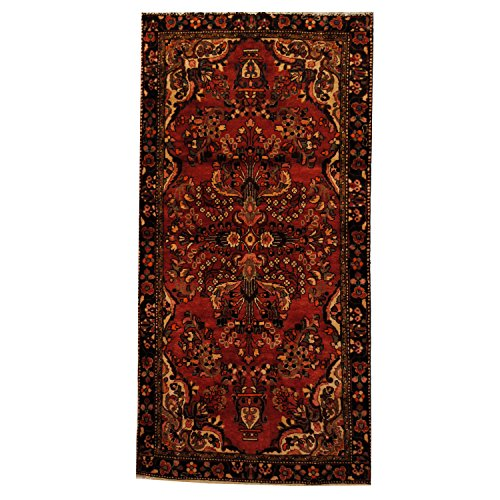 Herat Oriental SHOJ211 Antique 1960's Persian Hand-Knotted Tribal Lilihan Hamadan Wool Rug, 4-Feet 3-Inch by 8-Feet 9-Inch, Peach/Black Wool Hamadan Persian Area Rugs