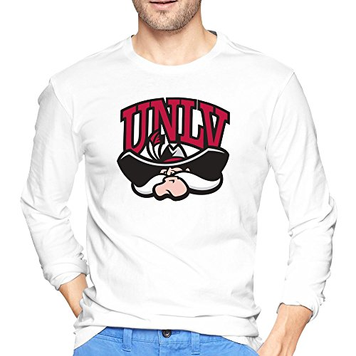 Moniz Mens College Football Black Hat Mascot Unlv Rebels T-shirts Long Sleeve (Unlv Hats For Men)