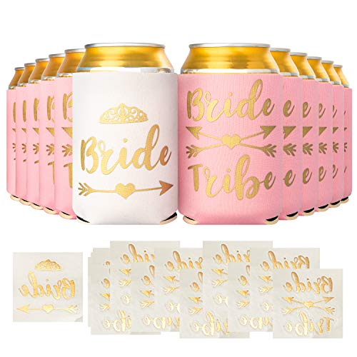 Crisky Bride Tribe Beer Sleeve with Tattoos, Team Bride Can Coolers, Can Covers with Insulated Covers, 12-Ounce Neoprene Coolers for Soda, Beer, Can Beverage, 1 Pcs White with 11 Pcs Pink]()