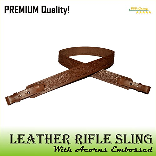 Total Leather (TOTAL SALE! Real Leather Gun Sling Strap with Embossed Acorn Design for Shooting Sport, Hunting – Adjustable 2 Point Shotgun Cord – Brown / Black - Guaranteed Excellent Quality (Brown))