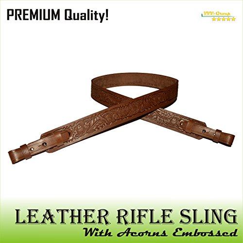 VVV-Group TOTAL SALE! Real Leather Gun Sling Strap with Embossed Acorn Design for Shooting Sport, Hunting – Adjustable 2 Point Shotgun Cord – Brown