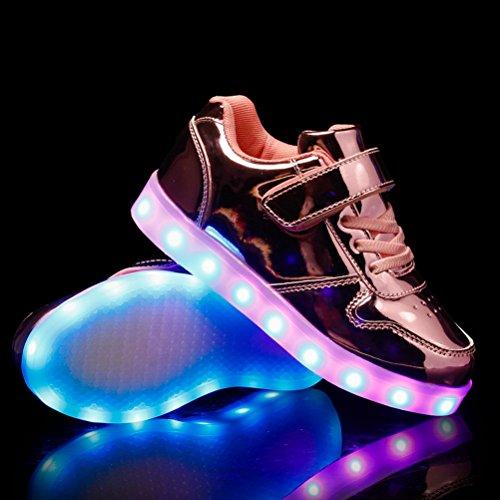 LED Sportschuhe für Herren Damen USB Aufladen 7 Lichtfarbe 11 Beleuchtenmodi Sport Schuhe Kinder Jungen Mädchen Laufschuhe Leuchtend Sneaker Turnschuhe Unisex Spiegel Pink