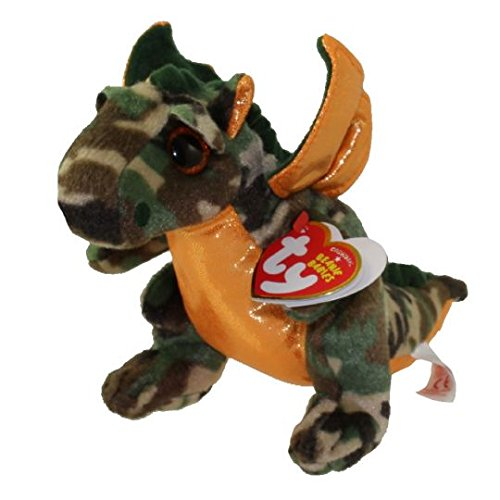 NEW Cute TY Beanie Baby - RAZOR the Dragon (6 inch) (Dragon Rattle)