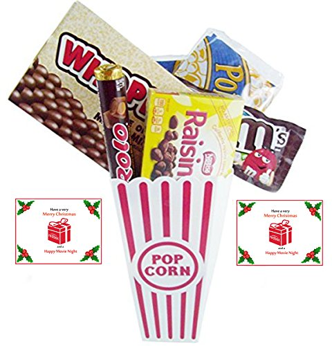 Have A Merry Christmas And A Happy Movie Night Gift Basket ~ Includes Butter Popcorn, Concession Stand Candy and a Gift Card for 2 Free Redbox Movie Rentals (Whoppers)