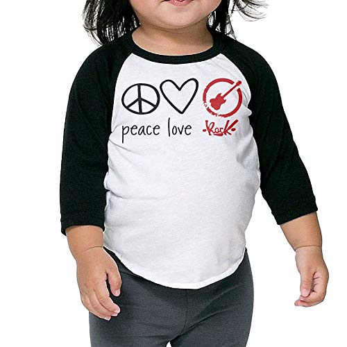 Peace, Love & Rock'n Roll Boys & Girls Long Sleeve Tee Shirt for 2-6 Years Old - Jersey Kids Baseball Peace