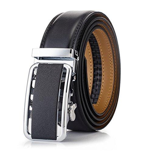 OKOKO men's Ratchet buckle genuine leather belt 35MM width (M~L:up to 44