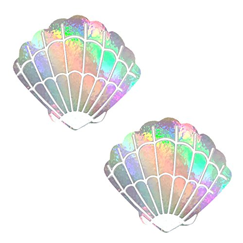 Care Bare Stare Holographic Mermaid Shell Nipztix Pasties Nipple Covers -