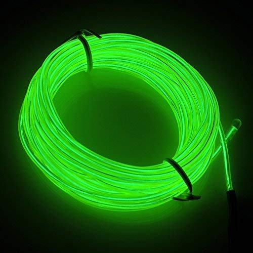 Lychee Neon Glowing Strobing Electroluminescent Light El Wire w/Battery Pack for Parties, Halloween Decoration (Green, 15ft)
