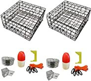2-Pack of KUFA Vinyl Coated Crab Trap & Accessory kit (100' Non-Lead Sinking line,Clipper,Harness,Bait
