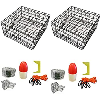 Image of 2-Pack of KUFA Vinyl Coated Crab Trap & Accessory kit (100' Non-Lead Sinking line,Clipper,Harness,Bait Bag & 14' Float) (S60+CEM3) x2 Canoeing
