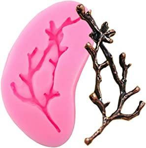 Tree Branch Twig Silicone Mold for DIY Pudding Jelly Shots Desserts Fondant Mold Handmade Ice Cream Ice Cube Gum Paste Cupcake Cake Topper Decoration Candy Crystal Soap Mould Chocolate