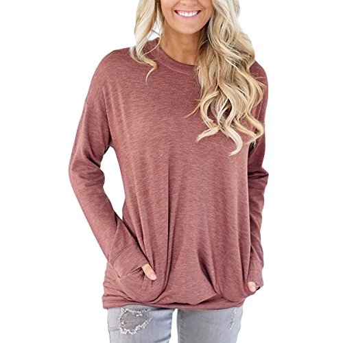 PORALA Comfy Long Sleeve Tunic Tops Blouses For Women Batwing Sleeve Casual Soft Sweatshirts T-Shirts With (Red Super Soft T-shirt)
