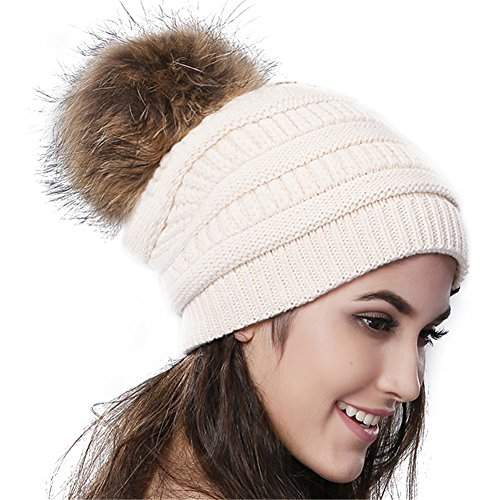 FURTALK Womens Winter Slouchy Beanie Cap With Real Fur Pom Pom Hat
