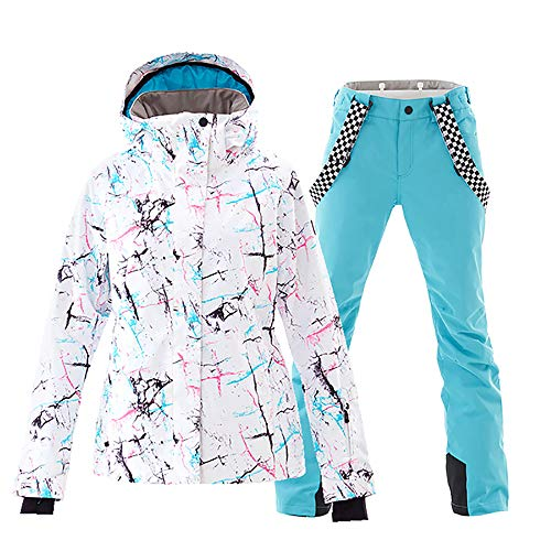 (Mous One Women's Waterproof Ski Jacket Colorful Snowboard Jacket and Blue Bib Pant Suit(S))
