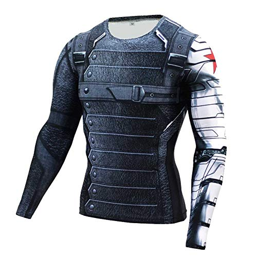 Cosfunmax Winter Soldier Shirt Super Hero Compression Sports Shirt Men's Long Sleeve Fitness Tee Gym T-Shirt L ()