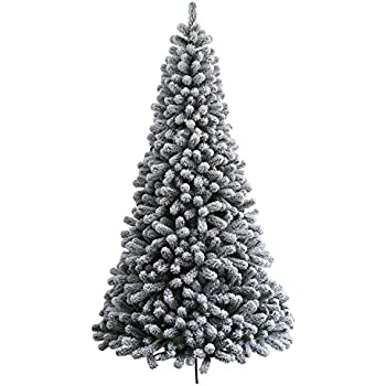 king of christmas 6 foot prince flock artificial christmas tree with 300 ul warm white led - Snow Christmas Tree