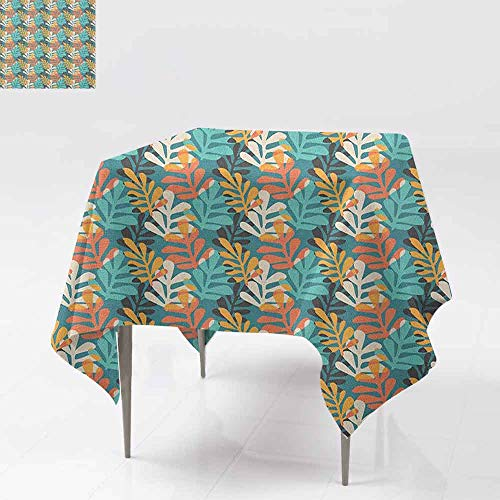 Contemporary Leaf Silhouette - AndyTours Spill-Proof Table Cover,Pastel,Hand Drawn Style Leaves with Colorful Silhouettes Contemporary Doodle Composition,Party Decorations Table Cover Cloth,50x50 Inch Multicolor