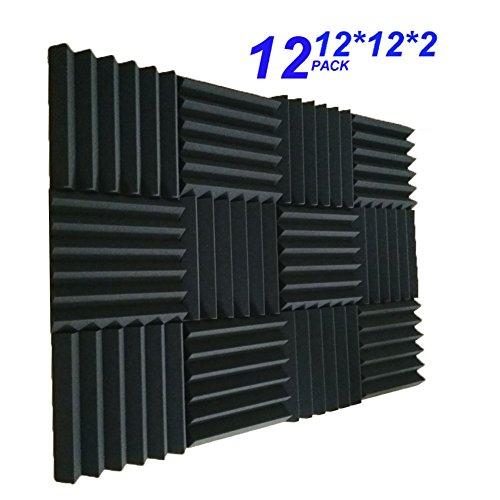 12 Pack- Charcoal Acoustic Panels Studio Foam Wedges 2'' X 12'' X 12'' (12PCS, Black) (30305cm, black) by Burdurry