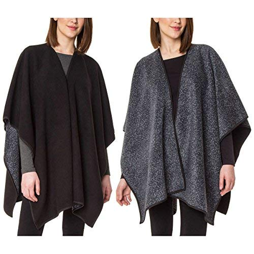 (Ike Behar Ladies' Reversible Fashion Wrap,One Size (Black/Grey))
