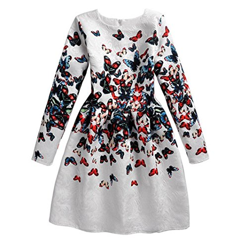 Baby Special Dresses, LOVELYIVA Girl Clothes Long Sleeve Butterfly Print Teen Child Dress Europe Style Princess Dress (8-9T, (Teen Christmas Dress)