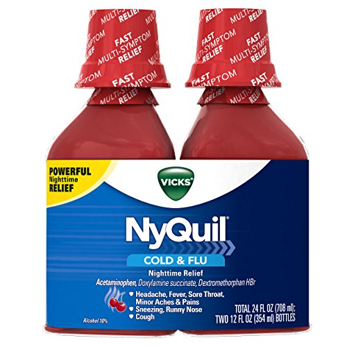 Vicks NyQuil Cough Cold and Flu Nighttime Relief, Cherry Liquid, 2x12 Fl Oz