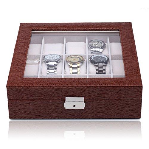 ROWLING Uhrenbox Uhrenkasten mit dem Magnetverschluss Schaukasten Uhrenvitrine für 15 Uhren BG050