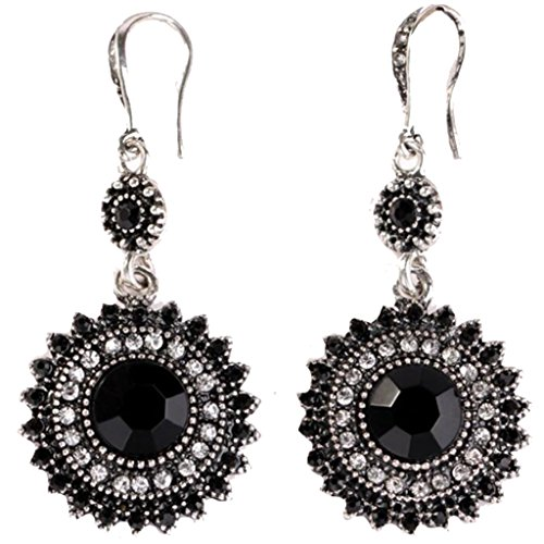 Bohemia National Wind Restoring Ancient Ways Sunflower Earrings (Black)