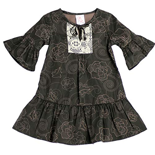 THE SILLY SISSY- Toddlers & Girls Lace Accent Boho Inspire Shift Dress Fabulous Chic - Twilight Floral Cotton Size 7/8