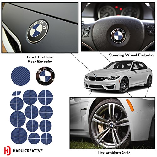 Haru Creative - Vinyl Overlay Aftermarket Decal Sticker Compatible with and Fits All BMW Emblem Caps for Hood Trunk Wheel Fender (Emblem Not Included) - Carbon Fiber Blue ()