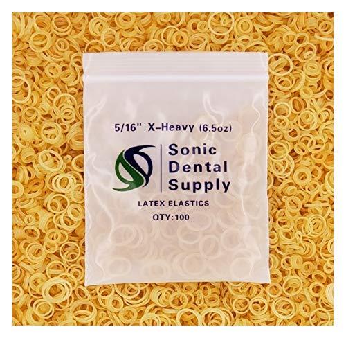 Sonic Dental - Amber 5/16 X-Heavy 6.5 oz - Orthodontic Elastic - Braces - Dental Rubber Bands