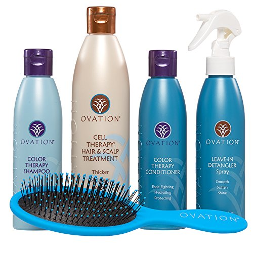 Ovation Healthy Hair Starter Kit with Cell Therapy - Get Stronger, Fuller & Healthier Looking Hair with Natural Ingredients - Includes Color Therapy, Detangler, Wet/Dry Brush