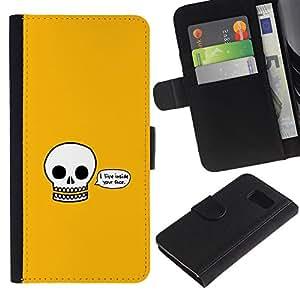 LECELL--Cuero de la tarjeta la carpeta del tirón Smartphone Slots Protección Holder For Samsung Galaxy S6 -- Vivo Inside Your Face Cráneo divertido --