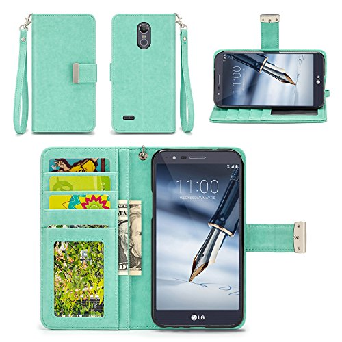 LG Stylo 3 Plus Case, LG Stylo 3 Case - IZENGATE [Classic Series] Wallet Cover PU Leather Flip Folio with Stand (Mint)