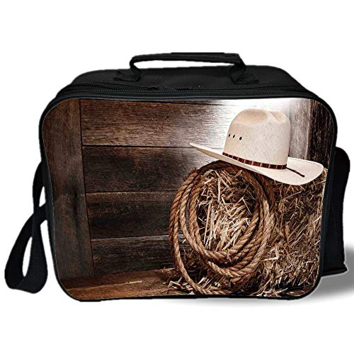 (Western 3D Print Insulated Lunch Bag,American West Rodeo Hat with Traditional Ranching Robe on Wooden Ground Folk Art Photo Decorative,for Work/School/Picnic,Brown)