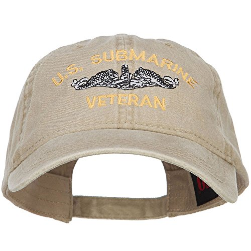 - e4Hats.com US Submarine Veteran Military Embroidered Washed Cap - Khaki OSFM