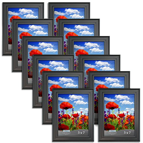 Icona Bay 5x7 Picture Frame (12 Pack, Black), Black Bulk Photo Frame 5 x 7, Wall Mount Hangers and Table Top Easel, Display Horizontally or Vertically, Set of 12 Allure Collection