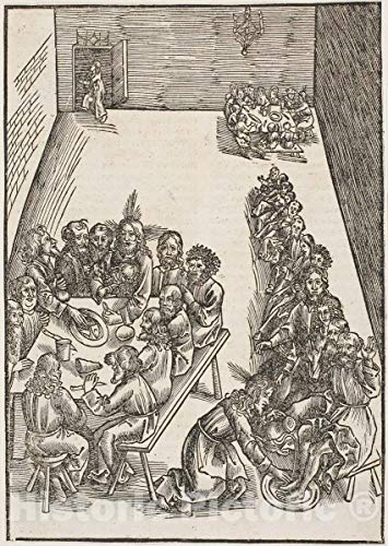 Historic Pictoric Print : The Last Supper and Christ Washing The Feet of His Disciples, Plate Nine, Urs GRAF, The Elder, c.1505, Vintage Wall Decor : 16in x 24in (Christ Washing The Feet Of His Disciples)