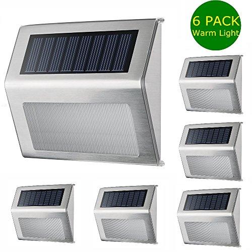 Stainless Steel 5 LED Waterproof Solar Wall Light - 8