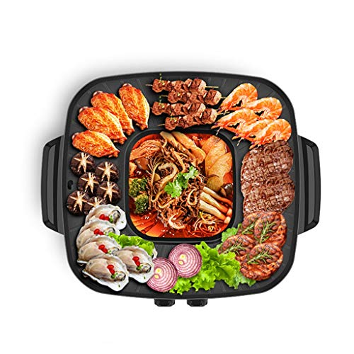 New L&Y The Electric Table-Top Party Grill and Hot Pot 2 in 1 BBQ& Hot Pot Smoke-Free Electric Baking Pan Non-Stick Surface Multi Cooker Glass Lid 801W-1200W (Size : Single Pot)