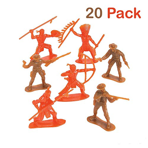 Native American Supply (Plastic Cowboys And Indians Figures - Pack Of 20 - 2.25 - 3.25 Inches Brown And Orange Colors - Western Action Figures - For Kids, Great Party Favors, Bag Stuffers, Fun, Toy, Gift, Prize - By Kidsco)