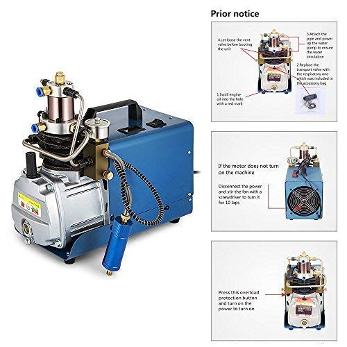 TOPQSC Compresor de aire eléctrico auto-Stop bomba de aire de alta presión ajustable 220V 300BAR 30MPA 4500PSI para inflador de Pistola de aira Rifle PCP: ...