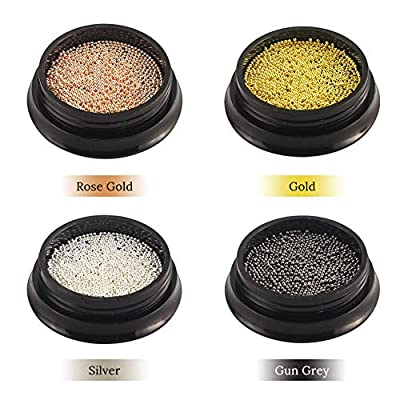 3D Nail Art Caviar Beads 4 Boxes 0.8 mm Mini Metal Micro Nail Micro Beads Small Balls Gold Silver Black Nail Art Accessories Charms for Women Nail DIY Decorations Manicure Supplies