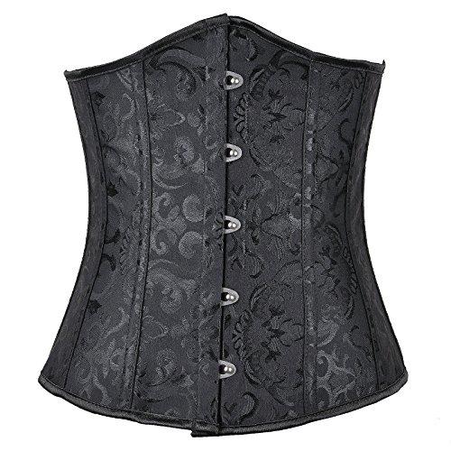 The Cane Women's Perfect Fit Steel Boned Shapewear Waist Training Cincher Bustier Corsets Color Black Size 5XL