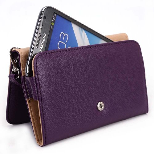 Kroo Motorola Droid Maxx 2 / Turbo 2, Moto X Play 2015 Case | Plum Purple Smartphone Wallet with Strap for Woman