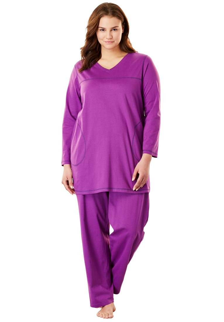 Dreams & Co.. Women's Plus Size Topstitched Pj Set Fresh Berry Rich Violet,4X