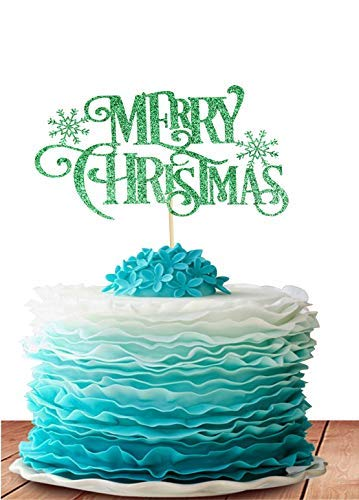 GrantParty Merry Christmas Cake Topper - Holiday Santa and Reindeer Cake Decorations - Happy Year,Hello 2019 Sign(Green) (2019 Best Christmas Decorations)