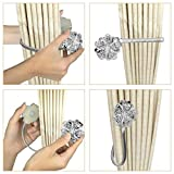 Diadia 2PC Crystal Magnetic Curtain Tiebacks Tie Back Clips Holdbacks Buckle Decorative Drapes with Strong Magnetic Buckle (Silver)
