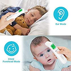 WADEO Ear and Forehead Thermommeter for Fever, Baby Thermometer Medical Digital Infrared Body Temporal,Instant Accurate Temperature Reading for Newborns,Elderly and Adults